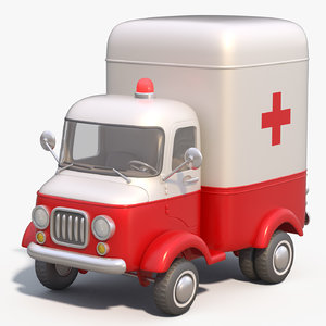 3D model toon ambulance car