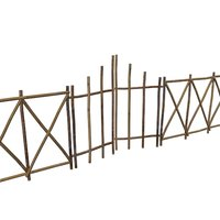 3D old bamboo gate fence model