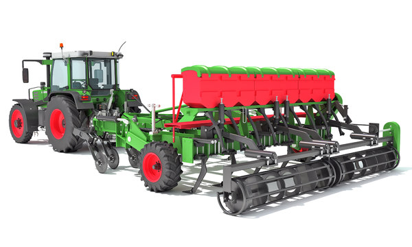 3D tractor seed drill
