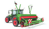 3D model tractor seed drill