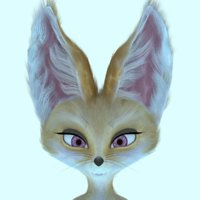 female fennec fox 3D model