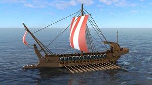 3D greek warship model