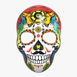 3D calavera mask skeleton model