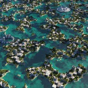 3D futuristic city cityscape 9