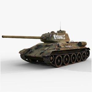 soviet tank t-34-85 gameready 3D