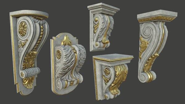 5 architectural pieces - 3D model