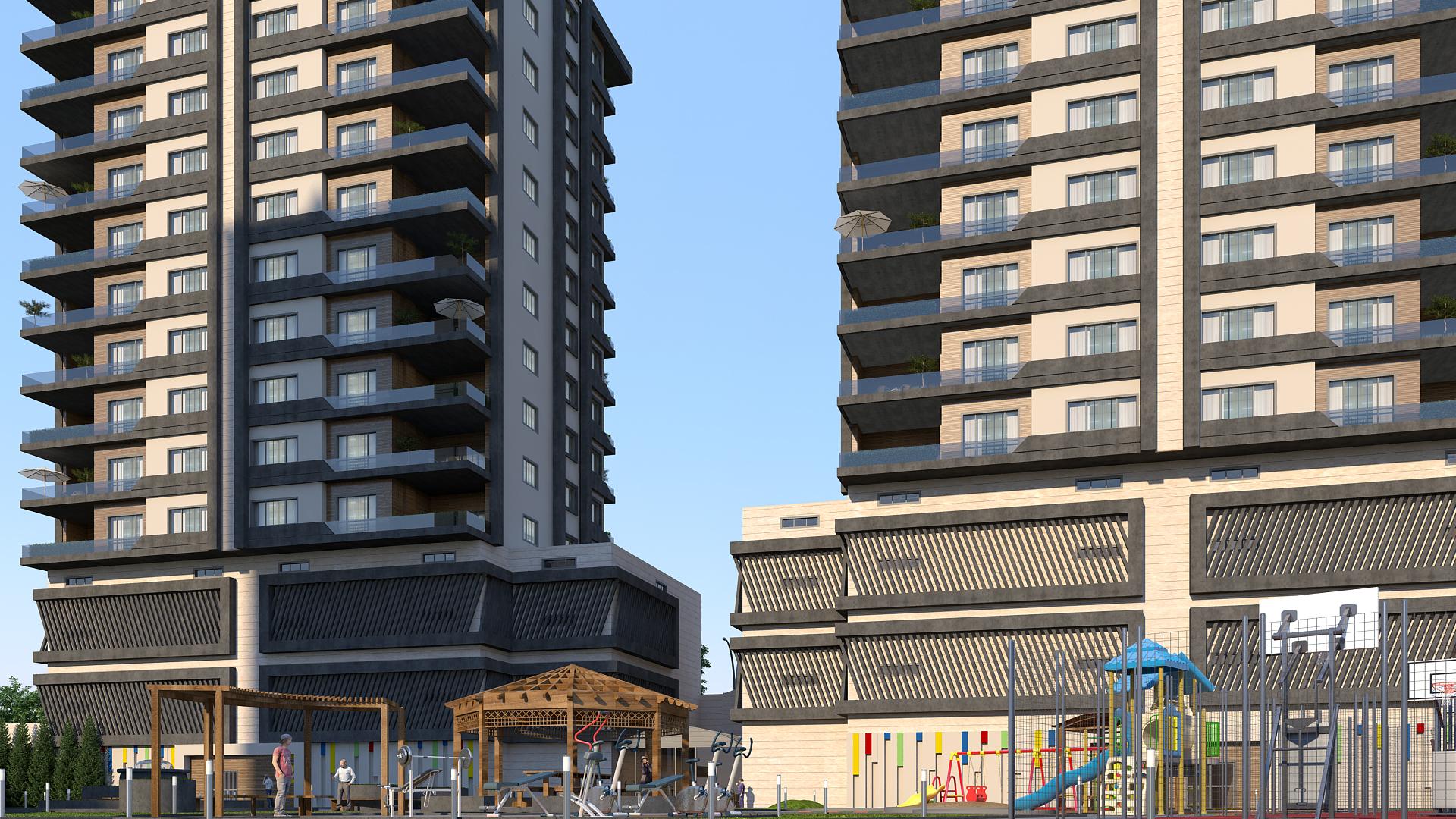 apartment building scene model