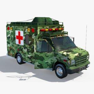 military ambulance truck army 3D model
