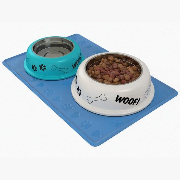 dog bowl set 3D model