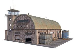 3D model old warehouse scene interior
