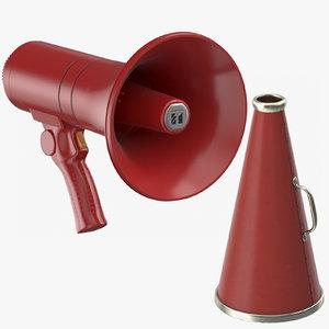 3D red megaphones