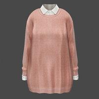 3D sweater shirt pink