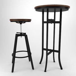 bar stool table wood 3D