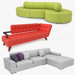 3D realistic fabric sofa