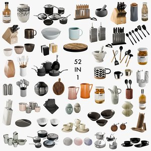 realistic kitchen accessories 1 3D model