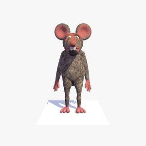 3D cartoon rat mouse rigged