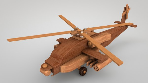 3D helicopter wooden toy model