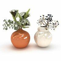 3D model flowers vases arrangements white