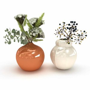3D model flowers vases arrangements white