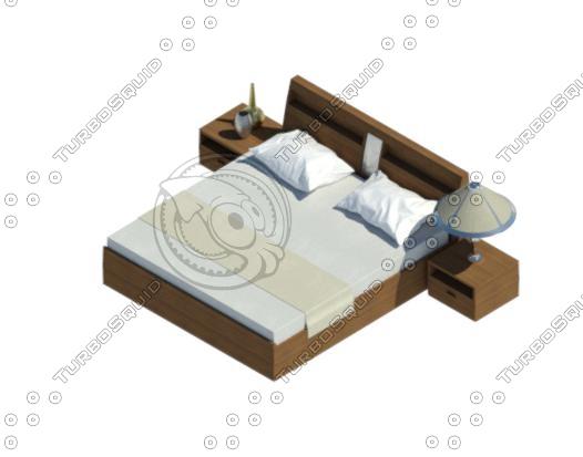 3D king bed model