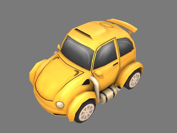 yellow cartoon car 3D model