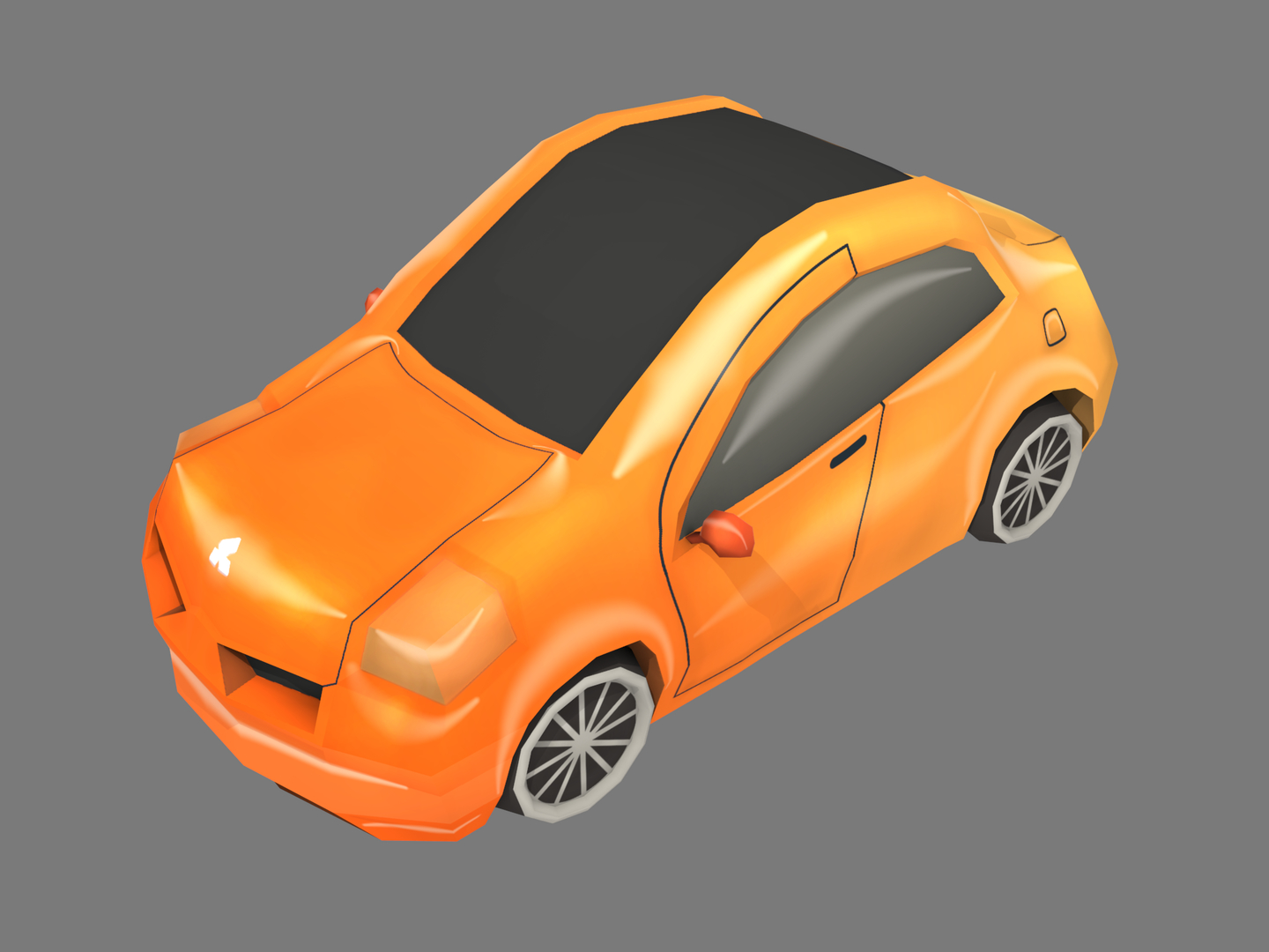3D orange cartoon car