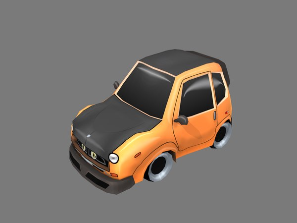3D orange cartoon car model