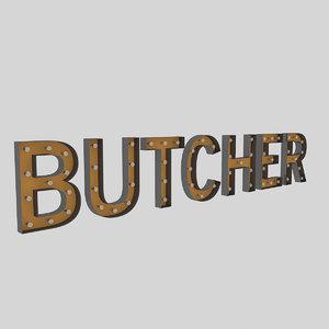 butcher sign bulb 3D model