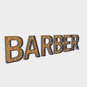 3D barber sign bulb