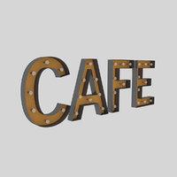 3D cafe sign bulb model