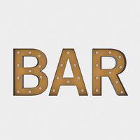 3D bar sign bulb model