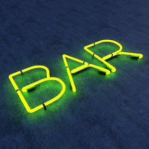 bar neon sign 3D model