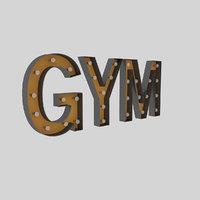 gym sign bulb 3D model