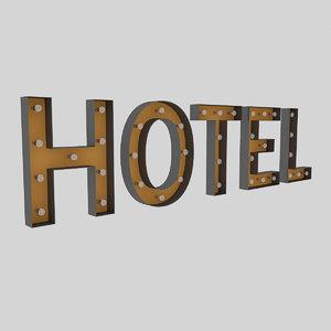 hotel sign bulb 3D model