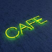 cafe neon sign 3D model