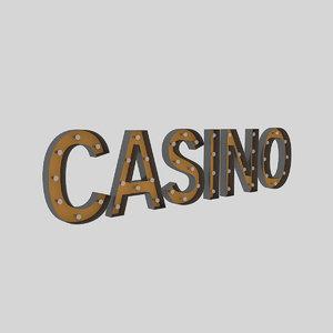3D casino sign bulb model