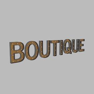boutique sign bulb 3D model