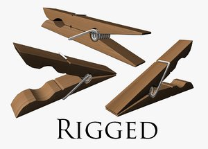 clothespin rigged 3D model