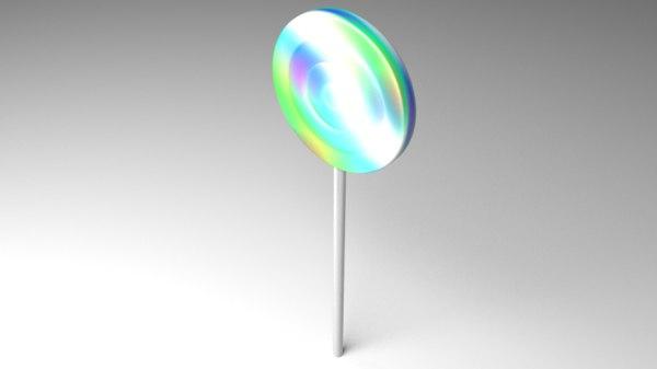 3D lollipop rainbow swirl model