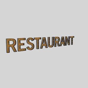 restaurant sign bulb 3D model