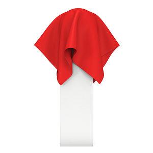 presentation pedestal covered red 3D model