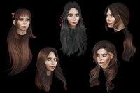 Set female hairstyle 5 types