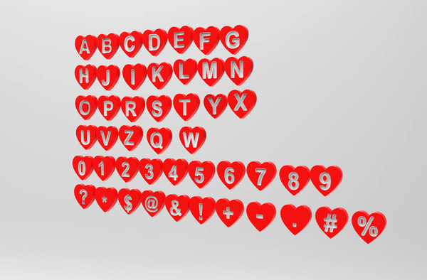 3D letters love shape modeled model