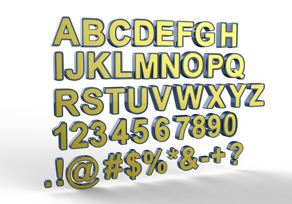 english letters 3D model