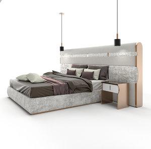 3D model luxury italian bed juliettesinteriors