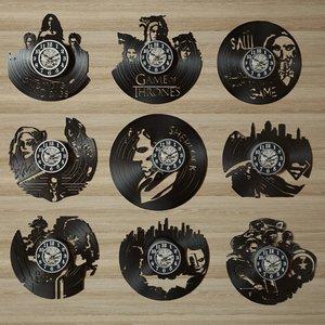 3D model clock wall vinyl record