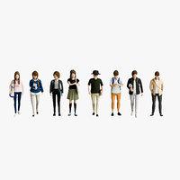 3D man walking standing model