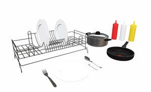 mini kitchenware set 3D model