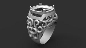 ring large stone patterns 3D model