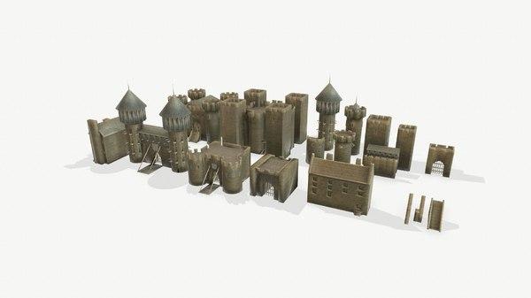 polys castle medieval 3D